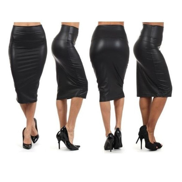 Elegant Women Sexy Black Faux leather Pencil Skirt High Waist Below Knee AP = 1645862084