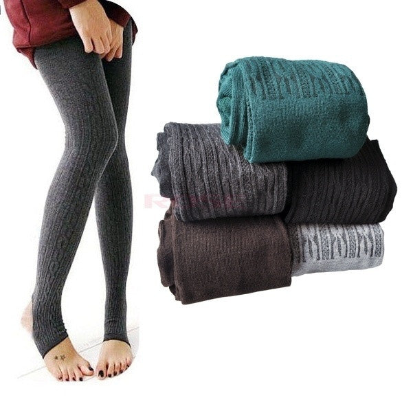 Comfortable Women Cotton Tights Pants Leggings Stirrup Winter Warm Trousers One size = 1644792580
