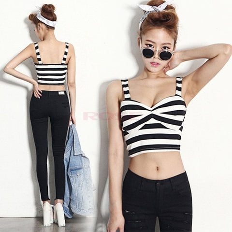 2014 New Summer Acado Roupas Femininas Sexy Vintage Padded Bustier Crop Top Cropped Tank Tops SV005927 Base shirt One size (Color: Black & White) = 1745571204