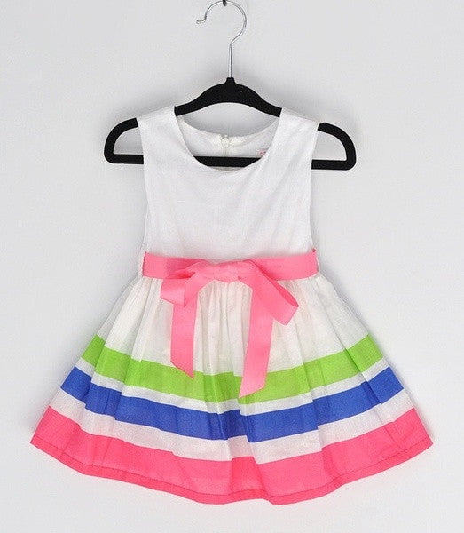 Fashion Baby Girl Dress rainbow Striped Flower Girls Princess Dresses SV002798|28001 Children's Clothing = 1645785732