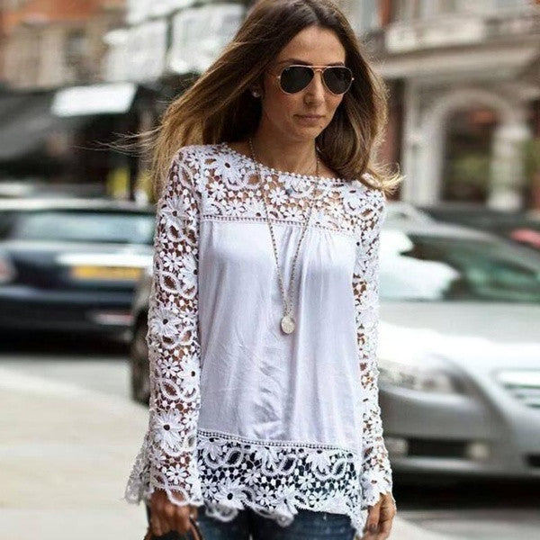 2014 autumn brand new Fashion White lace women Top chiffon blouse Shirt women lace long-sleeve blusas = 1667684548