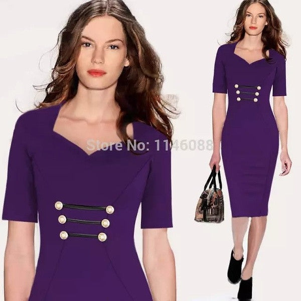2014 New Women Celebrity Elegant Pinup Fashion VintageTunic Fitted Button Work Wear Business Party Casual OL Sheath Bodycon Pencil Midi Office Dress Plus Size XXL#JY2153 = 1956610628