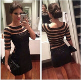 2014 New Sexy Perspective Sequined Dress Half Sleeve Striped Splice Dress Party Cocktail Club Sexy Women Mini Dresses = 1956638596