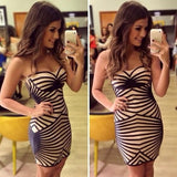 2014 New Fashion Strapless Bandage Dress Striped Print Backless Sleeveless Dress Party Cocktail Club Sexy Women Mini Dress = 1956597316