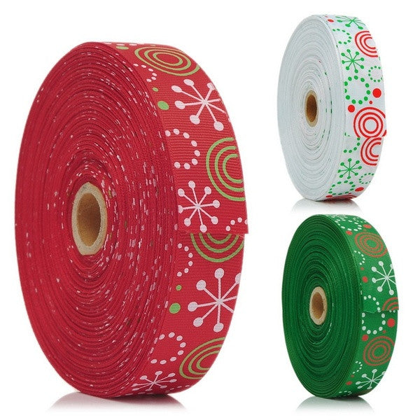 "25Yards Christmas Snow 1"" Wide Wedding Craft Grosgrain Ribbon = 1705706244"