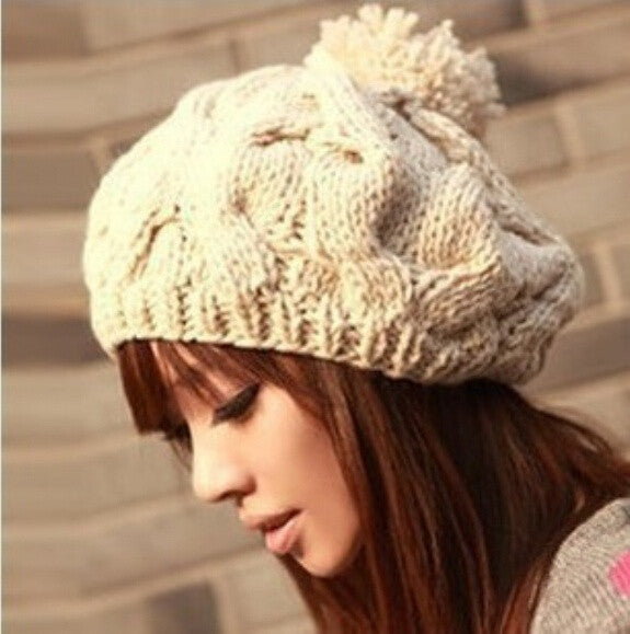 2014 Fashion Pumpkin beanie hats with big ball womens and girl gorras hat bonnet gorro Beanies winter hats for women Knit cap beanie gorros woman female girls outdoor wool cap Letter Beanie Warm ski Sport knitted hat caps = 1958120260