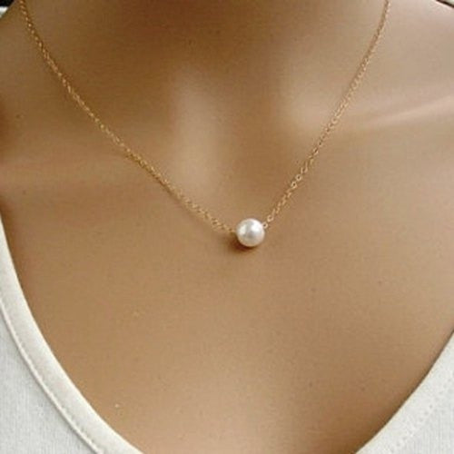 Sweet Pearl Pendant Necklace For Women (Color: Gold) With Thanksgiving&Christmas Gift Box= 1841486404