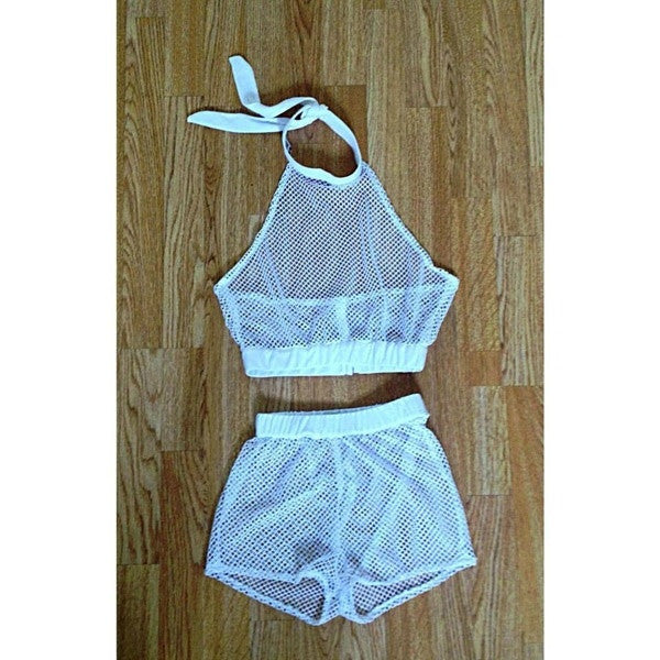 Black and White Shorts See Through Outfit Two Piece Set Mesh Top Crop Tops = 1958343364