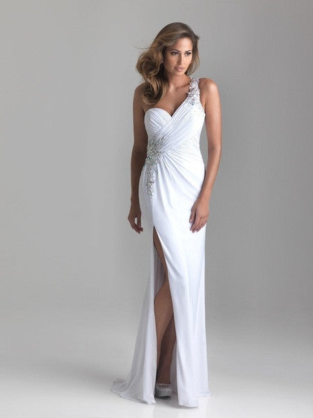 2015 White Long Mermaid Evening Dress 2015 Sweetheart Neck Open Back Prom Party Gown = 1956789380