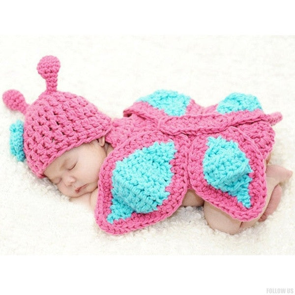 9b9361683f74 New Born Baby Girls' Clothes Romper Butterfly Design Knit Photo Prop Hat  Outfits (Size ...