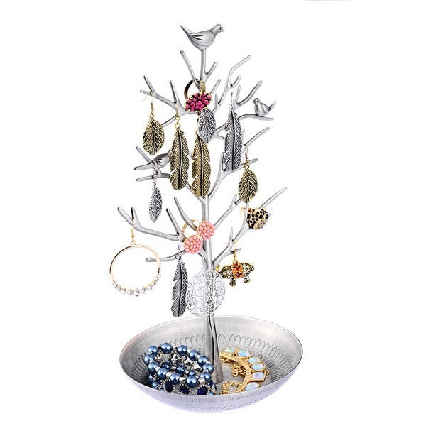 1PC Silver-grey Tree Stand Jewelry Earring Ring Organzier Display Accessoires (Size: 31cm by 16cm by 15cm, Color: Silver gray) = 1705706628