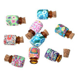 10PCs Mini Round Shaped Glass Bottles Containers Vials With Corks (Size: 19mm by 13mm, Color: Multicolor) = 1705484100
