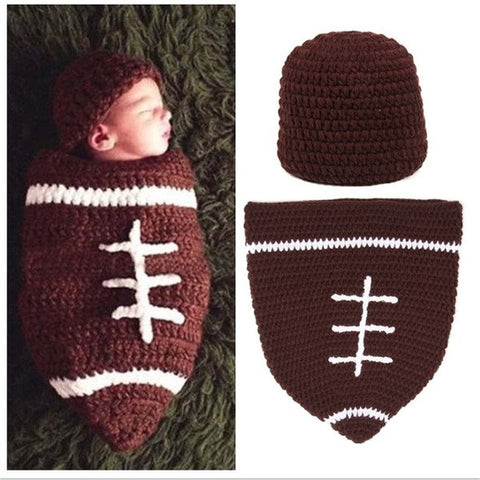 """1 Set Infant Baby Handmade Wool Knit Crochet Football Rugby Sleeping Bags Pattern Hat Cap Photography Photo Prop "" = 1958374724"