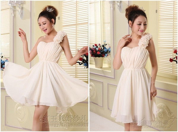 2015 plus size women korean design cute sweet ruffle chiffon one shoulder flower dress mini party/cocktail/homecoming/prom dress DT-0041 = 1956775428