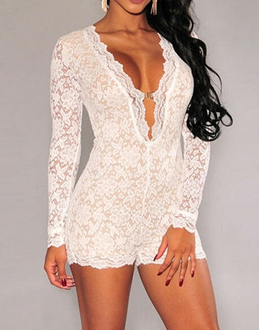 Deep V-neck Long Sleeved One Piece Shorts Sexy Tight Gauze Hollow-out Women Lace Dress = 1958512196