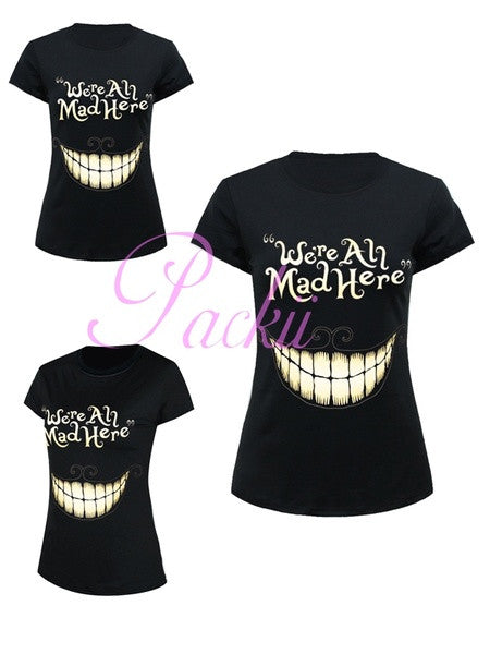 2015 NEW Gothic Punk Women Girl's Personlized We Are All Mad Printed Short Sleeve Tops Tee Shirts - Packii (Size: M) = 1956861828