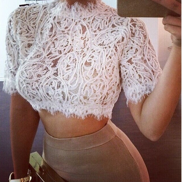 2015 NEW Women's Summer Short Sleeve Sexy Lace Crop Top Blouse T-shirt Tank(White,Black/Size S-XXL) = 1956691908
