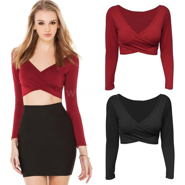 9e172f64b5 New Fashion Women Crop Top Plunge V Neck Cross Front Long Sleeve Short T- Shirt ...