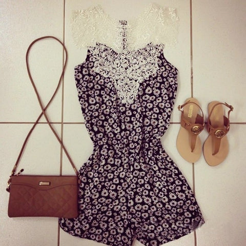 2015 Fashion Sexy Vintage Women Straps flower Print Jumpsuits Summer Lace Neck Playsuit Shorts Rompers Womens jumpsuit = 1667799748
