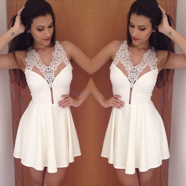 2015 Sexy White Lace Dress Women Casual Backless Summer Dresses Mini Pleated Sexy Sleeveless Party Dresses = 1754094468