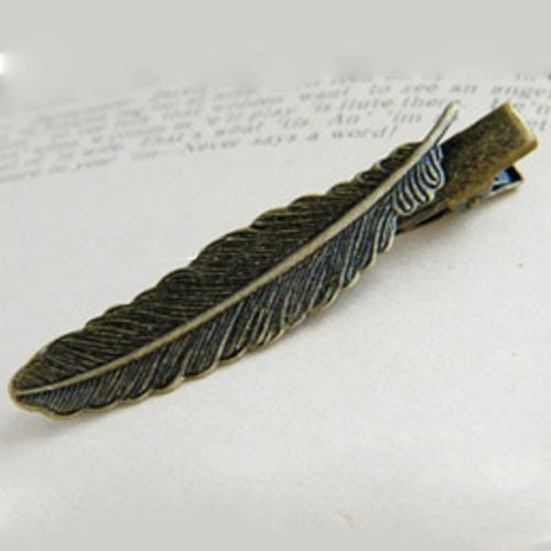 1PC Antique Bronze Plated Alloy Prong Alligator Barrette Filigree Feather Hair Clip = 1645840644