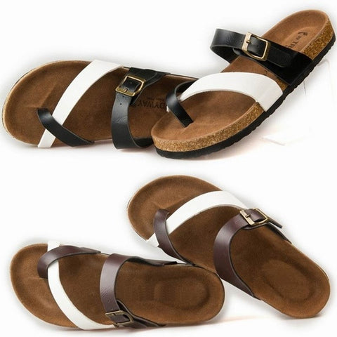 Birkenstock like Summer Fashion Leather Cork Flats Beach Lovers Slippers Casual Sandals For Women Men Couples Slippers 3D022 = 4776782980