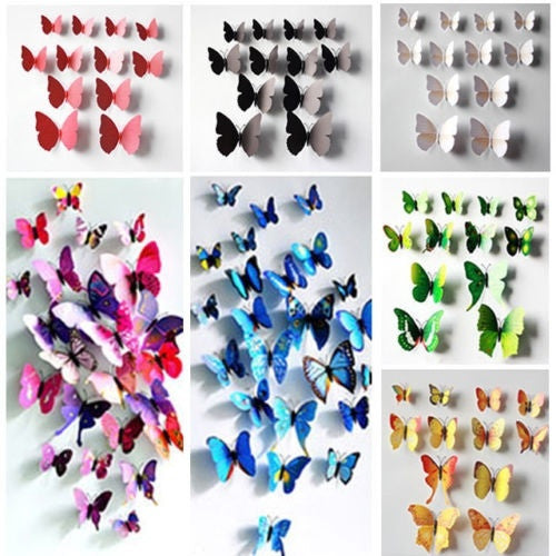 12x Hot 3D Artificial Wall Sticker Butterfly Wedding Home Room Decor Magnet Stickers = 1652943172