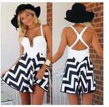 2015 Women's Fashion Summer White Strap V neck One Piece Dress = 1957983556