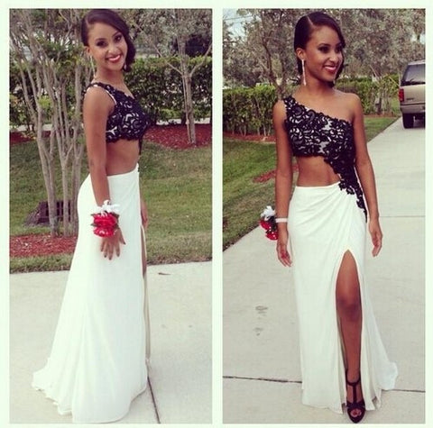 Dressyprom Sexy Black Lace One Shoulder Prom dresses With High Slit Custom Made Evening Dresses DP002 = 1956798148