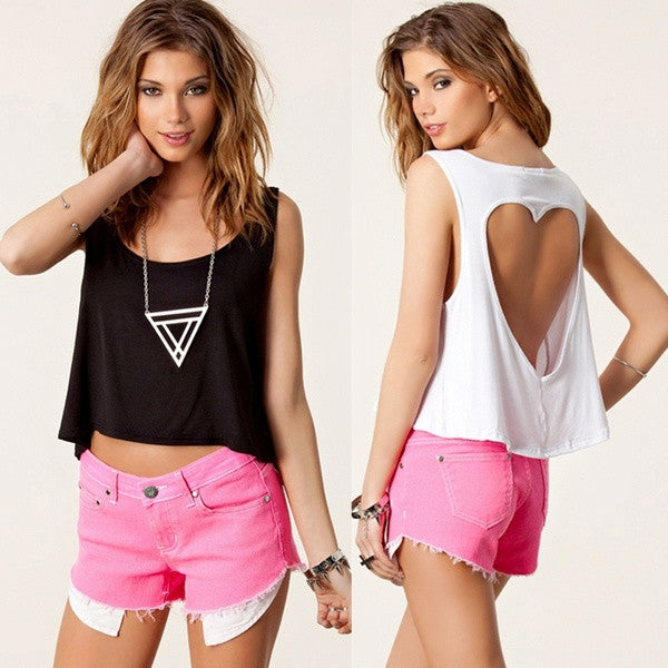 0666bf8a0c ... Sexy Fashion Women Crop Top Punk Heart Cut Out Back Sleeveless Short T-shirt  Tank ...
