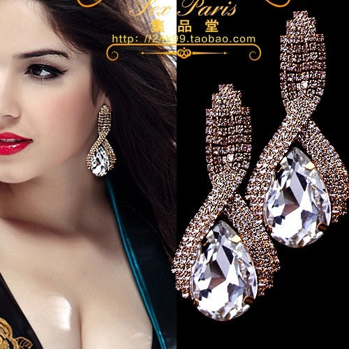 2015 Fashion accessories supercorp sparkling crystal big gold drop earrings for women = 1753646212