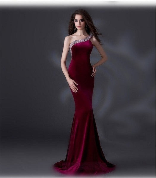 2015 Luxury Elegant Long Evening Dress Purple Knitting Beaded Strapless Mermaid Evening Dresses Party Prom Gowns = 1956894148
