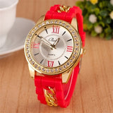 2015 Newest Watches Ladies Roman Numerals Rhinestone Dial Quartz Watch Classic Jelly Watches for Women and Men Unisex Silicone Watches = 1956998276