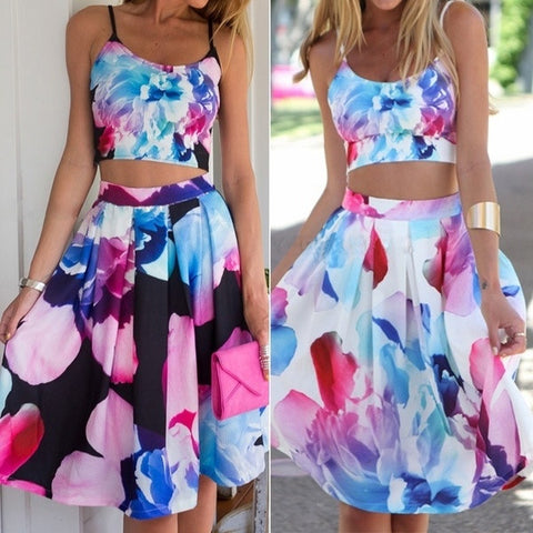 2015 New Arrival Women Fashion Summer Dress Strapless Sleeve With Flower Print  Designed Two Pieces Hot Sell = 1667743620
