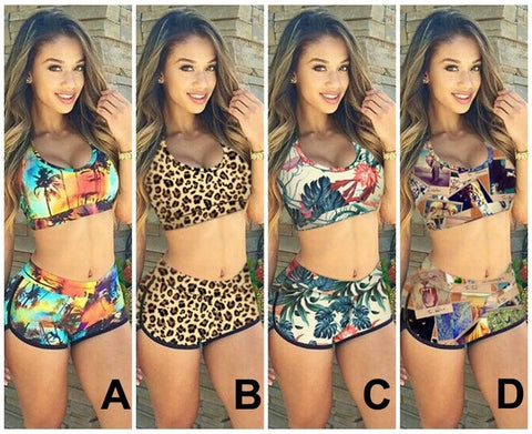 2015 Sexy Women Push up Bandage Bikini Set Sunset Coconut Palm 3D Print Tank Bra Swimsuit & Shorts Bathing Suit 2pcs KF898 1SET = 1956926596
