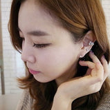 2 pcs(1 gold and 1 silver) Exquisite Designed Korea style Shinny Pearl Crystal Ear Clip Fashion stus earring Woman Ear Cuff? = 1668785028