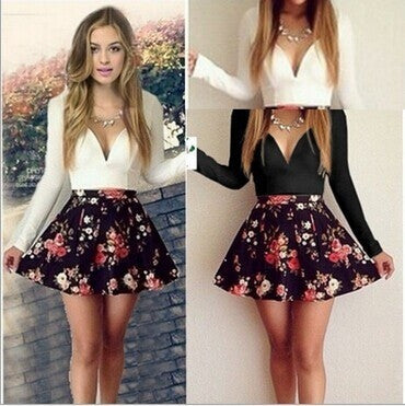 Feelingirl Women's Sexy Casual Cocktail Party Autumn Long Sleeve Short Slim Dress White Patchwork Bodycon Girl Dresses Vestidos = 1697064132