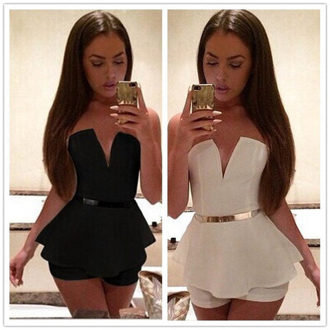 Feelingirl 2015 macacao female sexy strapless jumpsuit shorts feminino Casual rompers womens jumpsuit off = 1697123844