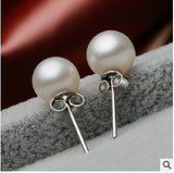 2 pairs/set Fashion Classic Natural pearl ball earrings 925 sterling silver stud earrings jewelry for womens (With Thanksgiving&Christmas Gift Box)= 1669448388