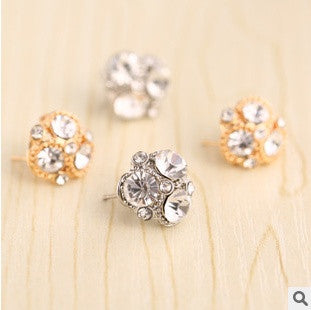 2 pairs/set(gold/silver) three Leaf Clover women earring 18k Gold Plated Austrian Crystal flower Stud Earrings ear clip = 1669444548