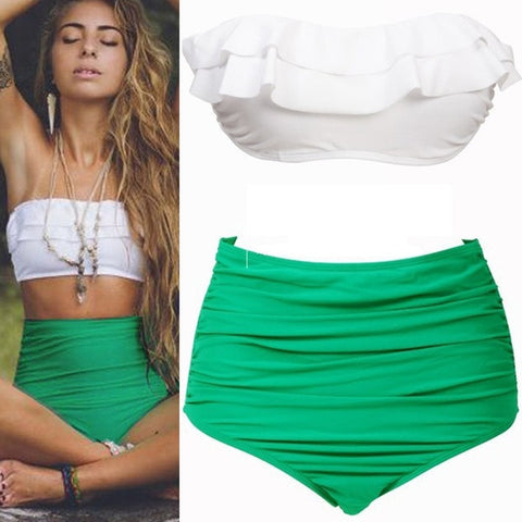 Vintage Ruffle High Waist Bikini Swimwear Women Swimsuit Bathing Suit Swimsuits Moda Praia Biquini Biquinis Women Biquines 2015 = 1956389892
