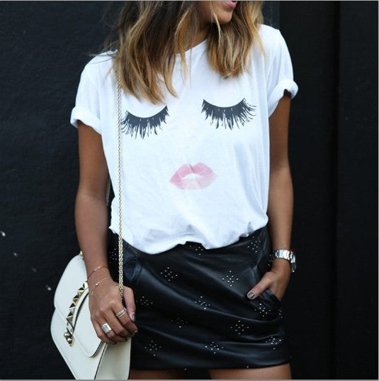 2015 New Fashion Women Short Sleeve Bottoming Basic T shirt Women Tops Printing White Loose Casual Women's T shirt Plus Size Summer Top Tees  White = 1956814660