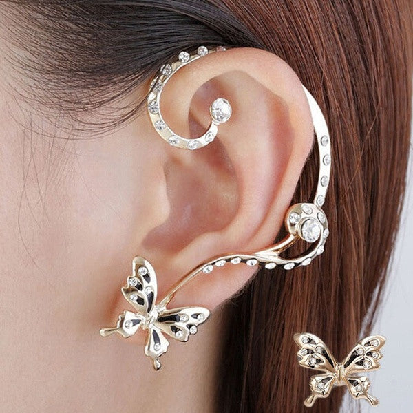 1 Pair Women's Fashion Ear Clip Crystal Beauty Women Butterfly Cuff Ear Clip Wrap Gifts (Color: Gold) = 1705898308