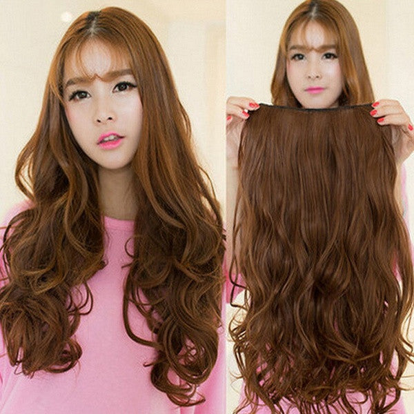 2015 Women's Fashion Clip in Hair Extensions Sexy Long Curly Human Hair Extensions Synthetic Wig = 1705946116