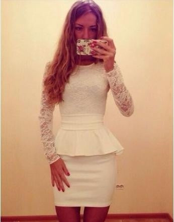 Summer Style White Long Sleeve Lace Dress 2015 New Bodycon Bandage Dress  Women Vestidos High Waist Plus Size Summer Slim Evening Party Dresses = ...