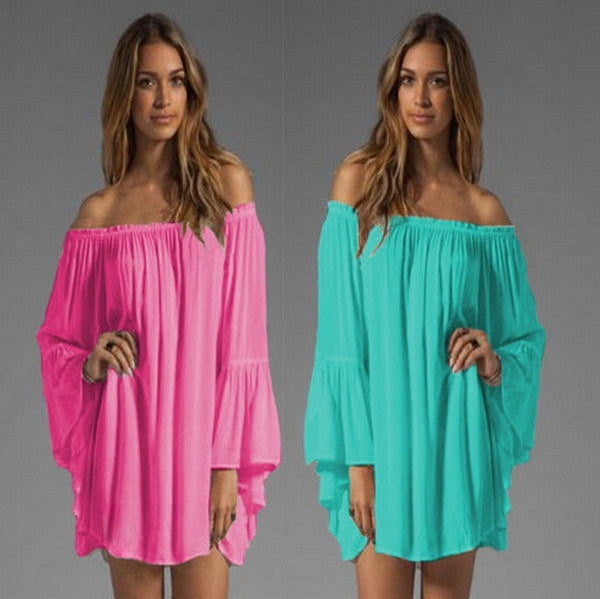 2015 Womens Boho Sexy Long Sleeve Chiffon Lace Off Shoulder Short Mini Dress Long Tops (Size,S-XXL) = 1956701572
