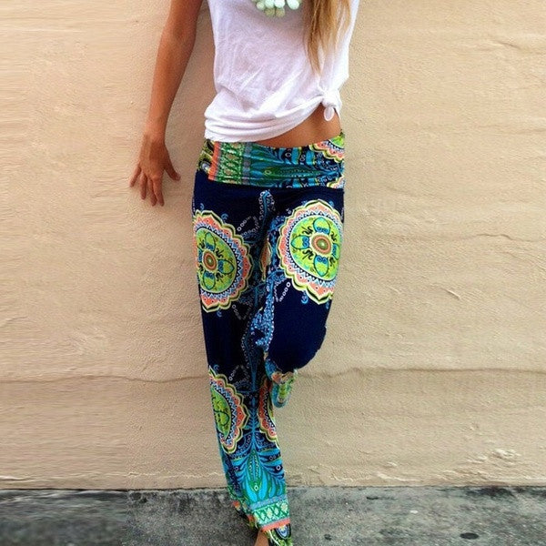 2015 New Fashion Women Long Pants Casual High Waist  Floral Palazzo Trouser Loose Style Green Color = 1667933636