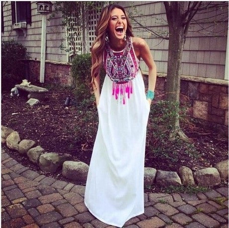 2015 Fashion trade Vintage totem print dress loose sleeveless chiffon dress Women Summer Vest White Patchwork Long Dresses = 1753266948