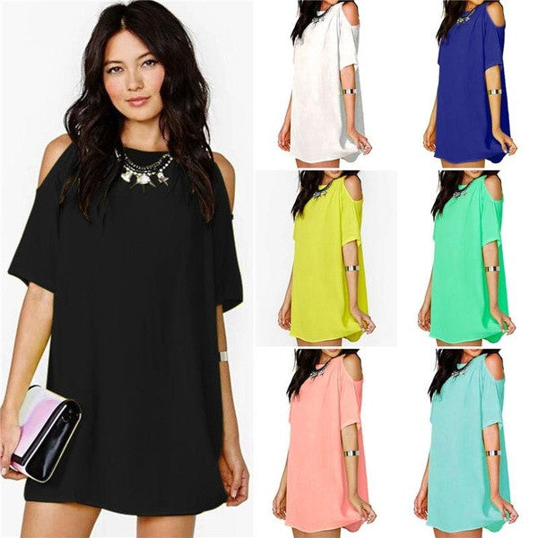 2015 Women's Hot Sale Fashion Candy Color Short Sleeve Soft Chiffon Bodycon Short Dress = 1956606404