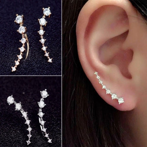 Fashion Lady Women Elegant Long Crystal Rhinestone Ear Stud Hook Earrings Jewelry Gift With Thanksgiving&Christmas Gift Box= 1645431300